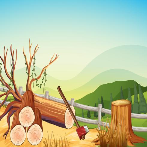 Scène met firewoods en heuvels vector