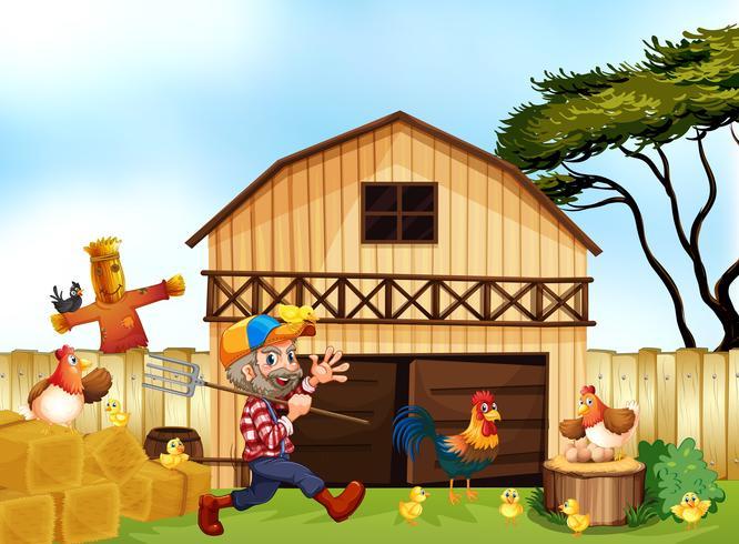 Boer werkt op de boerderij vector