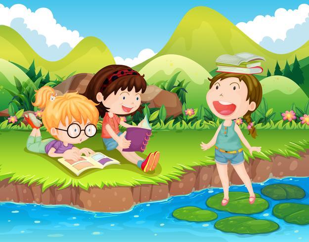 Drie meisjes die boeken lezen bij de rivier vector