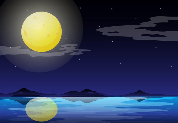 Een maanlichtlandschap vector