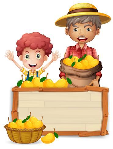 Boer met mango houten banner vector
