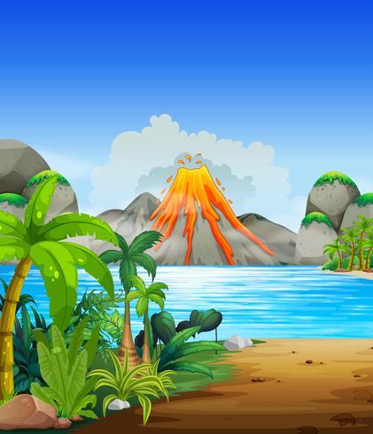 Vulkaanuitbarsting achter het meer vector