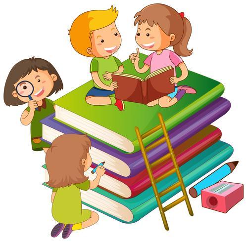 Kinderen in de boeken vector