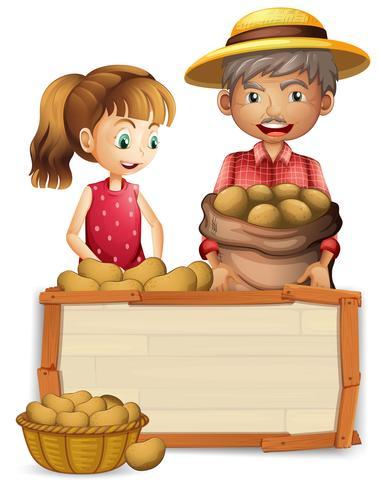 Aardappel boer op een houten bord vector