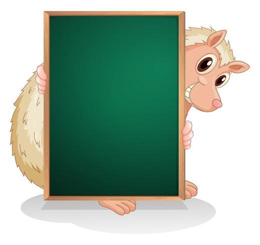 Een dier aan de achterkant van een leeg schoolbord vector