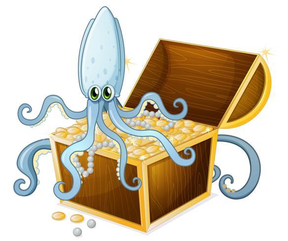 Een octopus boven de schatkist vector