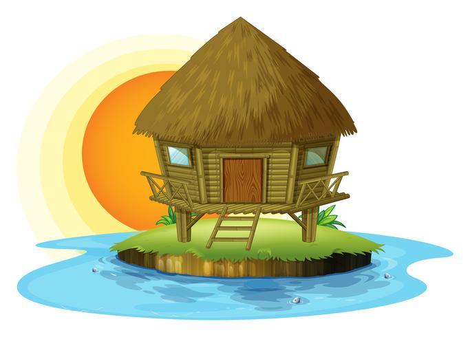 Een nipahut op een eiland vector
