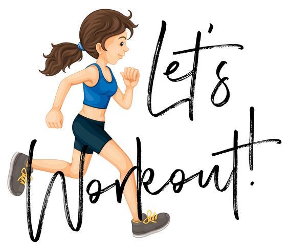Vrouw joggen met zin laten we het werkblad vector
