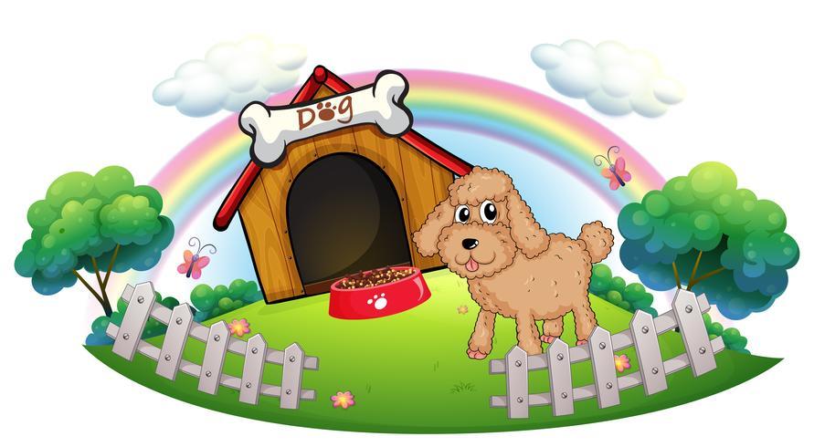 Een puppy dichtbij een houten hondehok met been vector