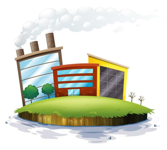 Een eiland met fabrieken vector