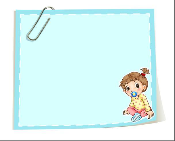 Een lege papieren sjabloon met een paperclip en een baby vector