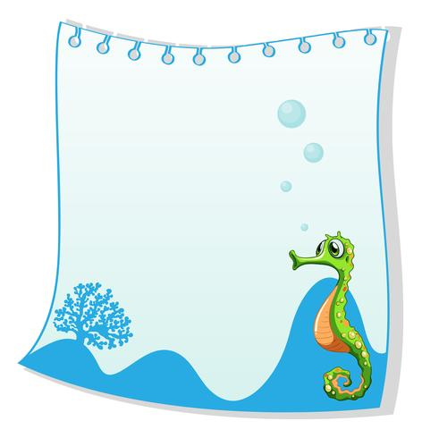 Een lege papieren sjabloon met een zeepaardje vector