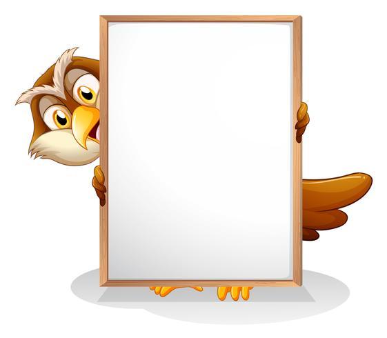 Een uil met een leeg bord vector