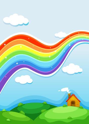 Een regenboog boven de heuvels vector