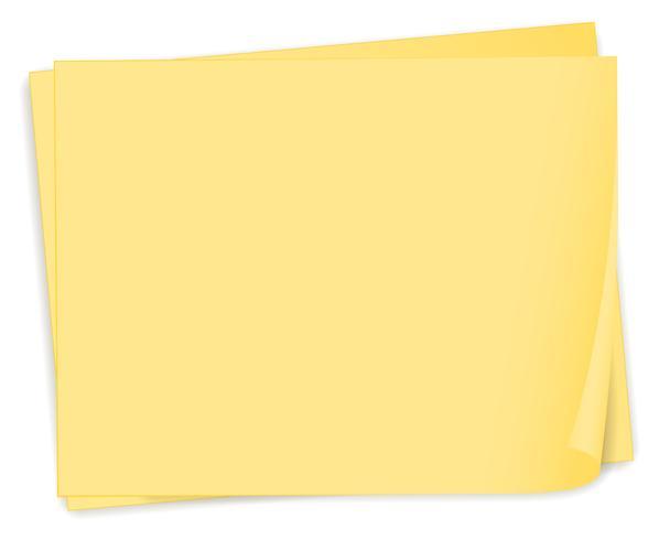 Een lege gele papieren sjabloon vector
