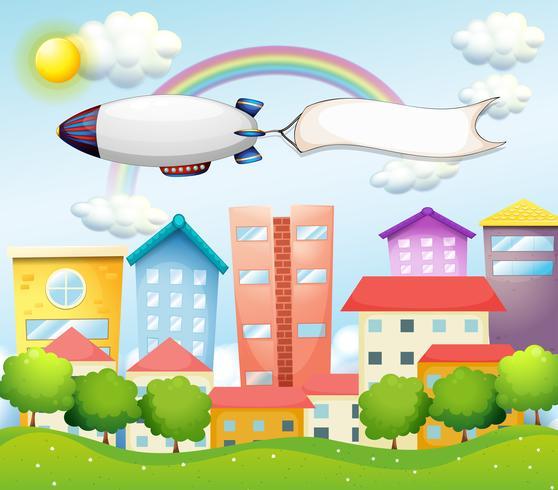 Een vliegtuig en de lege banner vector