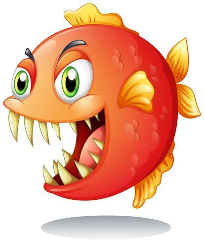 Een oranje piranha vector
