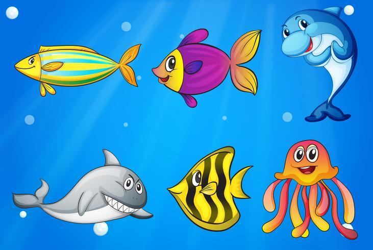 Zes kleurrijke lachende vissen onder de zee vector