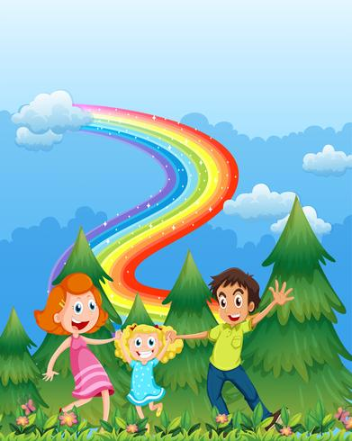 Een gelukkig gezin in de buurt van de dennenbomen met een regenboog aan de hemel vector