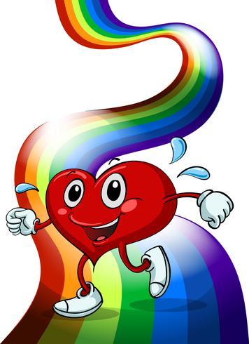 Een hart dat boven de regenboog loopt vector