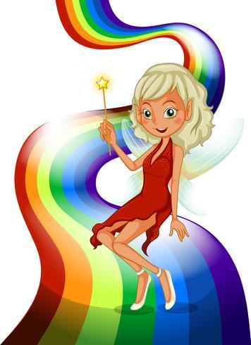 Een regenboog met een mooie fee vector