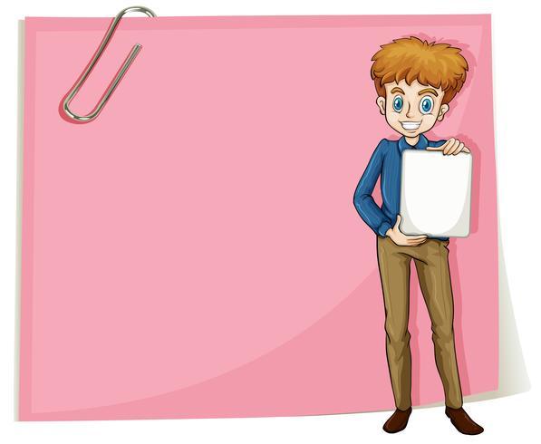 Een jongen die lege signage houdt die zich voor een leeg document bevindt vector