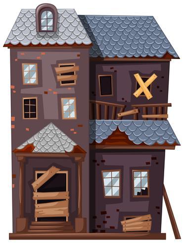 Geruïneerd huis met gebroken ramen en deuren vector