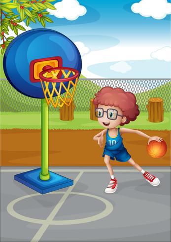 Een jongen die basketbal speelt vector