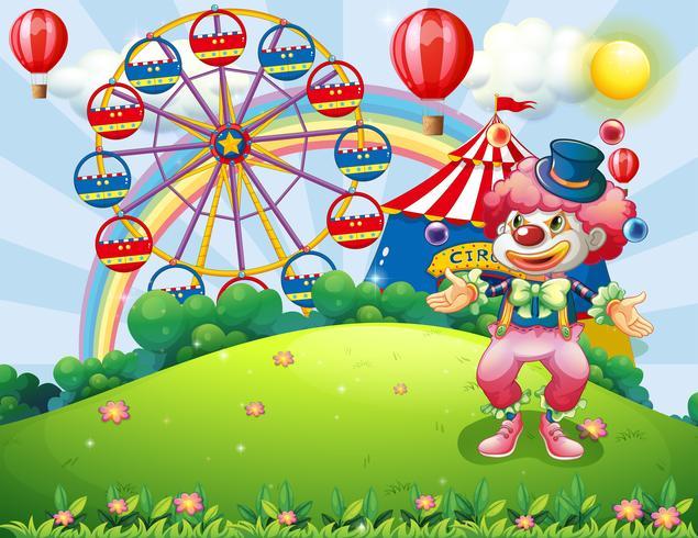 Een clown jongleren op de heuveltop over het carnaval vector