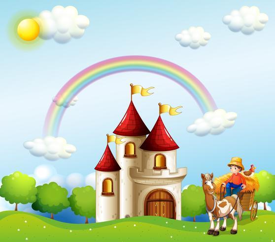 Een boerenjongen boven de heuvels bij een kasteel vector