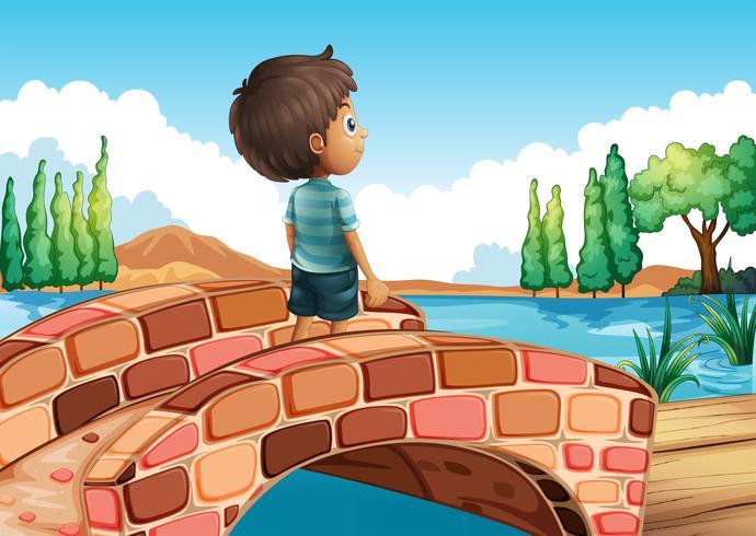 Een jongen bij de brug vector