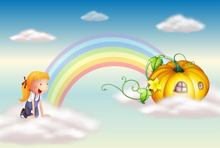 Een meisje dat een pompoen ziet aan het einde van de regenboog vector
