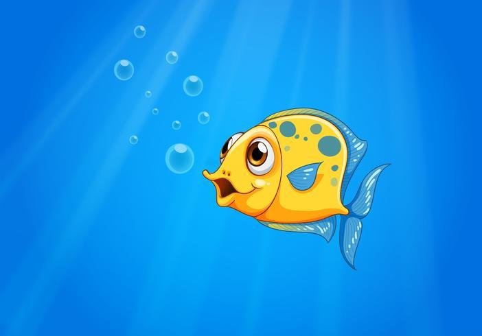 Een diepe oceaan met een gele vis vector