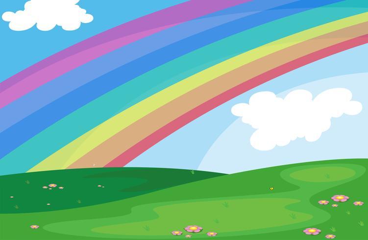 Een regenboog in de lucht vector