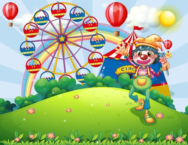 Een clown op de heuveltop met een carnaval vector
