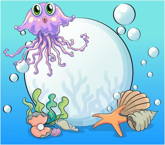 Een grote parel en de violette octopus onder de zee vector