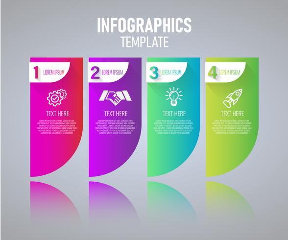 Kleurrijke Infographics sjabloonontwerp, abstracte elementen van grah met stappen. vectorillustratie vector