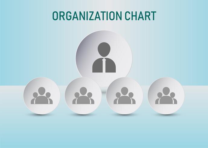 Organigram met pictogrammen van bedrijfsmensen. zakelijke infographic grafiek met 4 opties. Vector illustratie.