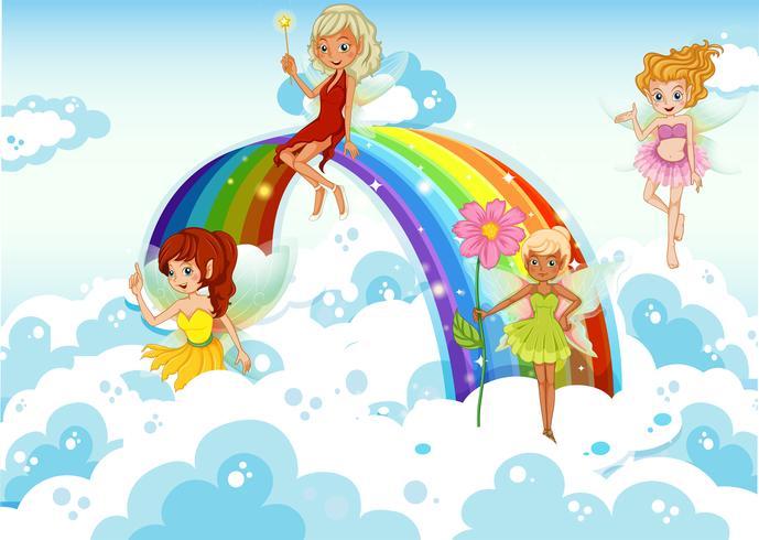 Feeën boven de hemel dichtbij de regenboog vector