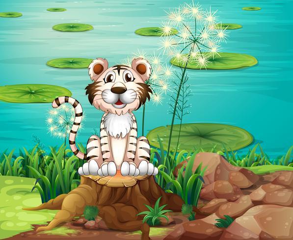 Een dier boven de stronk aan de rivieroever vector