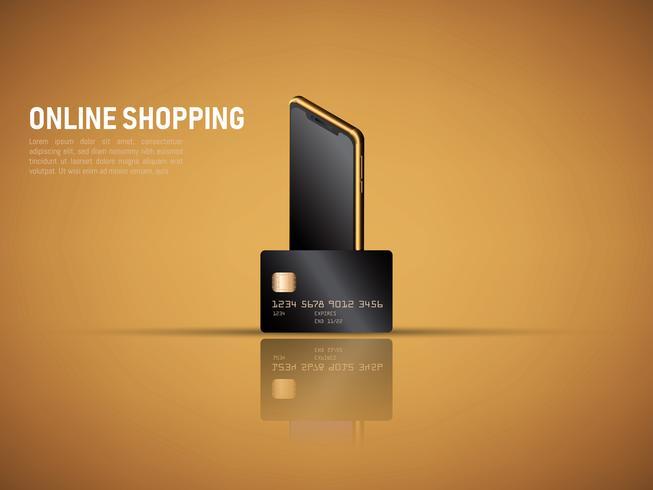 vector van mobiele betaling door smartphone en creditcard, veilig online winkelen concept.