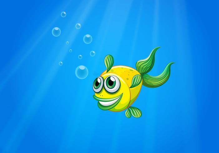 Een lachende gele vis onderwater vector