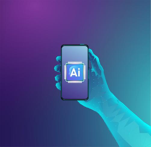 Kunstmatige intelligentieprocessor op holding telefoonconceptontwerp, Ai gegevensverwerking en machine het leren vector