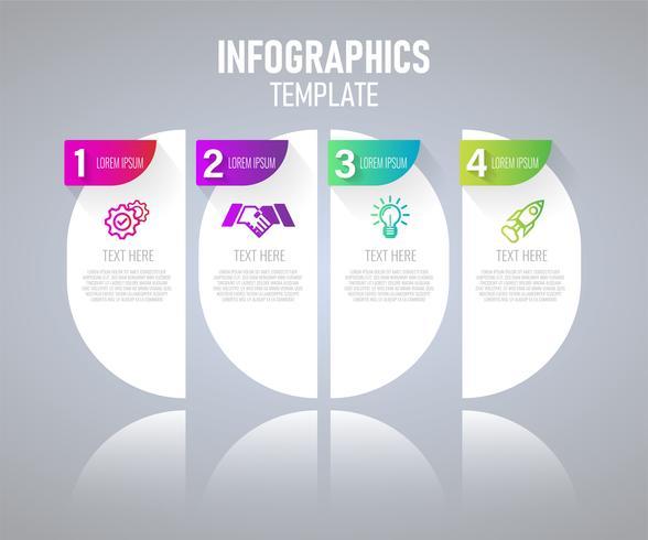 Infographicselementen met 4 stappen voor presentatieconcept vector