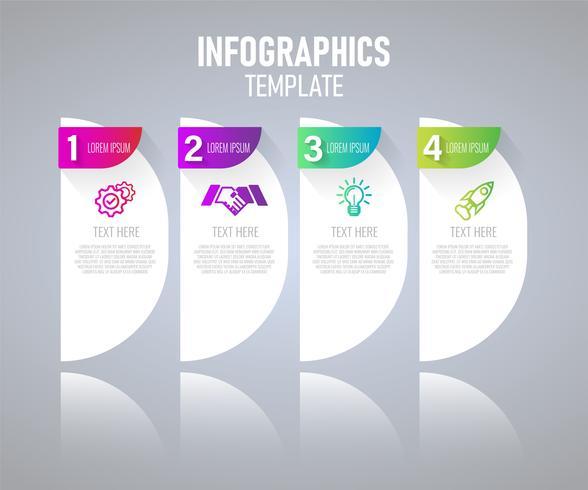 Infographicselementen met 4 stappen voor presentatieconcept, grafiek van bedrijfs planning, verwerkingstijdlijn. vectorillustratie vector