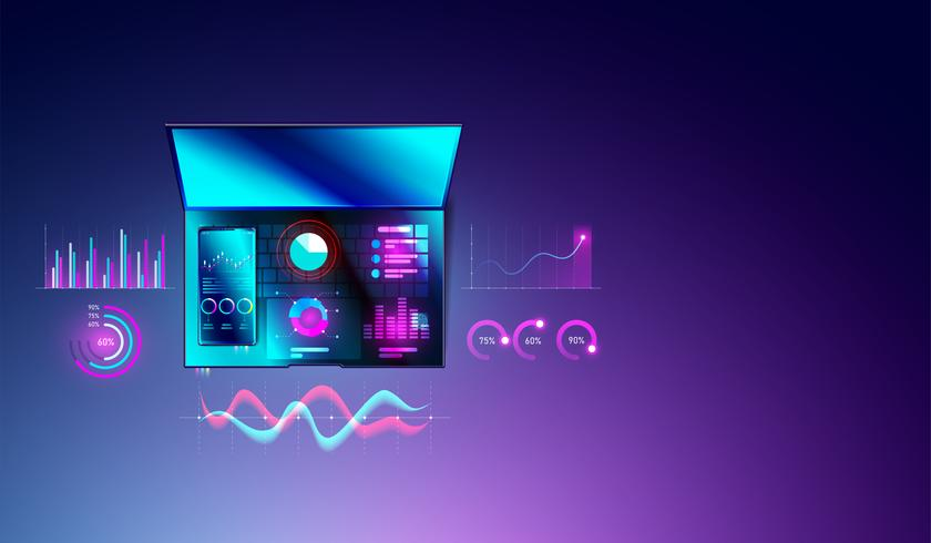 Financieel analyseconcept statistieken op smartphone en laptop met diagrammen of grafiek, gegevensanalyse en bedrijfsplanningsgrafiek op hoogste meningen van computer. vector