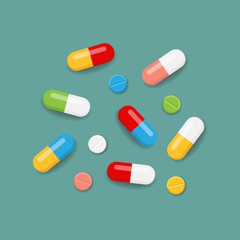 Pillen in kleuren vector