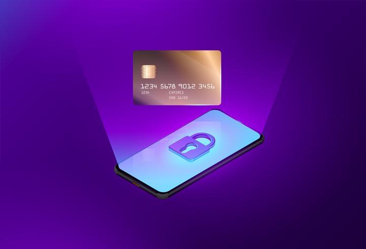 Vector van het gebruiken van creditcard online winkelend op smartphoneconcept.