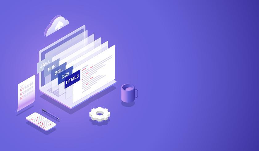 Verwerking van software en programmeerontwikkeling Isometrisch concept, beste programmeertalen en codering op computer en smartphone Vector. vector