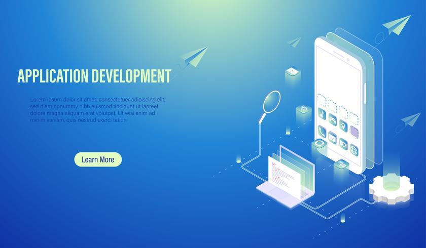 Mobiele applicatie ontwikkeling en programmacodering concept, software bouwen door computer laptop en smartphone, UI UX en web ontwerp lay-out op scherm Vector. vector